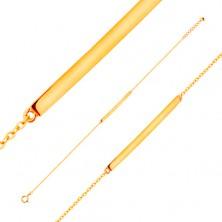 Náramek ze žlutého 14K zlata - lesklý úzký pás, řetízek z oválných oček, 185 mm