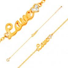 Zlatý náramek 585 - nápis Love a zářivé zirkonové srdce, tenký řetízek, 185 mm