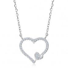 Rhodiovaný náhrdelník, stříbro 925, zirkonová kontura srdce a malé srdíčko