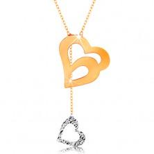 Zlatý náhrdelník 585 - jemný řetízek, dvojitá kontura srdce a visící srdíčko