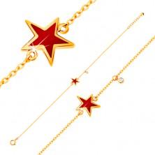 Náramek ve žlutém zlatě 585 s přívěsky - hvězda s červenou glazurou, čirý zirkon