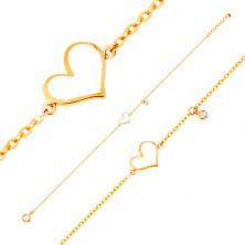 Zlatý náramek 585 - bílé asymetrické srdce a čirý zirkonek, tenký řetízek