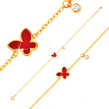 Náramek ze žlutého 14K zlata - červený glazovaný motýl a čirý kulatý zirkonek
