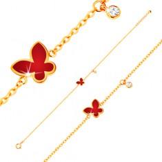 Náramek ze žlutého 14K zlata - červený glazovaný motýl a čirý kulatý zirkonek GG136.20