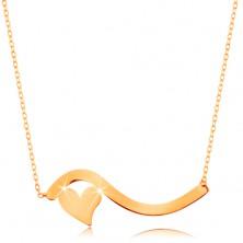 Náhrdelník ve žlutém 14K zlatě - vlnka a malé symetrické srdíčko, jemný řetízek