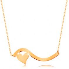 Náhrdelník ve žlutém 14K zlatě - vlnka a malé symetrické srdíčko, jemný řetízek GG160.16