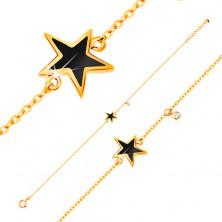 Náramek ve žlutém zlatě 585 - černá glazovaná hvězdička, zirkon čiré barvy