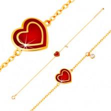 Náramek ve žlutém 14K zlatě, přívěsky - srdce s červenou glazurou, zirkon
