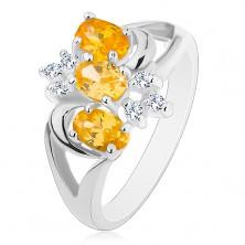 Prsten s rozdělenými rameny, žluté zirkonové ovály, čiré zirkony