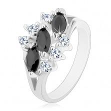 Lesklý prsten ve stříbrném odstínu, černá zirkonová zrnka, čiré zirkonky