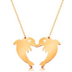 Zlatý 14K náhrdelník - jemný řetízek, dva delfíni tvořící obrys srdce GG160.15 Šperky eshop