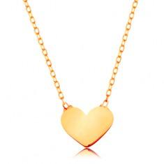 Zlatý 14K náhrdelník - blýskavý tenký řetízek, přívěsek - malé ploché srdíčko
