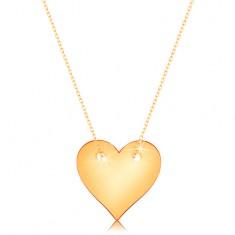 Náhrdelník ze žlutého 14K zlata - souměrné ploché srdce, jemný řetízek