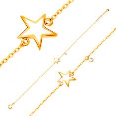Zlatý náramek 585 - bílá glazovaná hvězdička, zirkon čiré barvy GG136.09