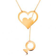 Náhrdelník ze žlutého 14K zlata - kontura srdce se srdíčkem a visící rybkou