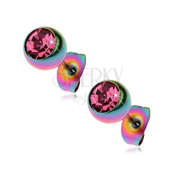 Ocelové náušnice, duhové kuličky s růžovým zirkonem, 7 mm