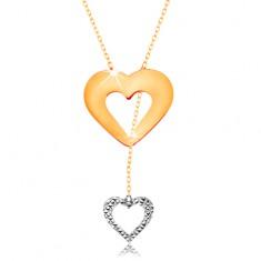 Náhrdelník ve 14K zlatě - jemný řetízek, obrys srdce a visícího srdíčka