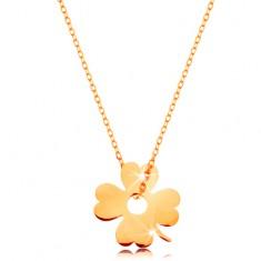 Zlatý 14K náhrdelník - blýskavý tenký řetízek, přívěsek - čtyřlístek pro štěstí