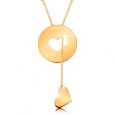 Náhrdelník ze žlutého 14K zlata - kruh se srdíčkovitým výřezem a visícím srdcem GG160.10