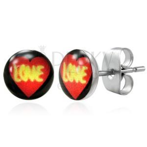 Ocelové náušnice - srdce LOVE