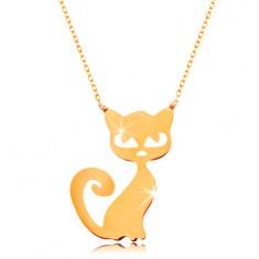 Zlatý 14K náhrdelník - plochý přívěsek - kočička, jemný blýskavý řetízek