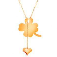 Náhrdelník ve žlutém 14K zlatě - čtyřlístek a visící srdíčko, lesklý řetízek GG160.08
