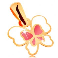 Přívěsek ze žlutého 14K zlata, motýl zdobený bílou a růžovou glazurou