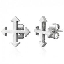 Ocelové náušnice ve stříbrném odstínu - čtyři světové strany