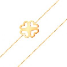 Náramek ze žlutého zlata 585 - tenký řetízek, vyřezávaný čtyřlístek