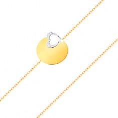 Zlatý 14K náramek - jemný řetízek, lesklý plochý kruh, kontura srdce z bílého zlata