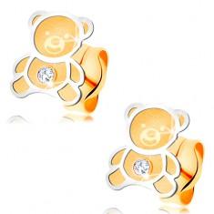 Zlaté náušnice 585 - dvoubarevný medvídek s matným povrchem, lesklá kontura