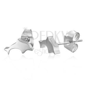 Puzetové ocelové náušnice - delfíni, stříbrná barva