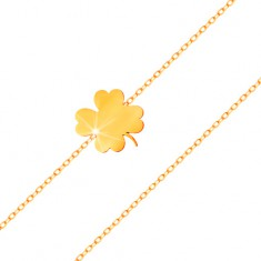 Náramek ve žlutém 14K zlatě - lesklý čtyřlístek, tenký řetízek z oválných oček
