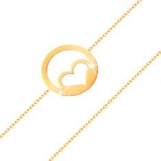 Zlatý náramek 585 - kontura souměrného srdce v kroužku, vysoký lesk