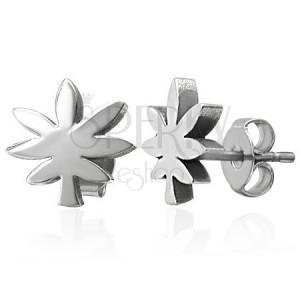 Ocelové náušnice stříbrné barvy - list marihuany