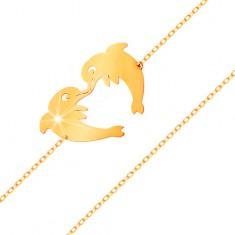 Zlatý náramek 585 - dva delfíni tvořící konturu srdíčka, jemný řetízek