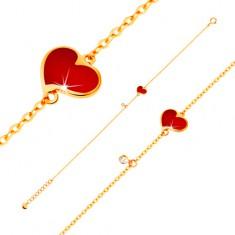 Náramek ve žlutém 14K zlatě - červené asymetrické srdce a čirý zirkonek, tenký řetízek