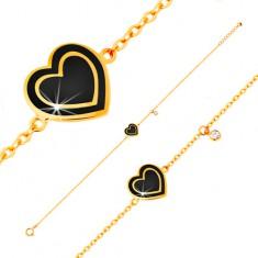 Náramek ze žlutého zlata 585, přívěsky - zirkonek a srdce s černou glazurou