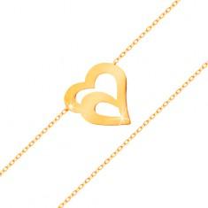 Zlatý náramek 585 - jemný řetízek z oválných oček, dvojitá kontura srdce