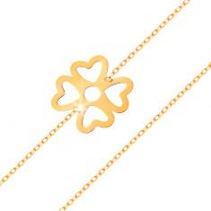 Náramek ze žlutého zlata 585 - symbol štěstí, čtyřlístek s výřezy, lesklý řetízek