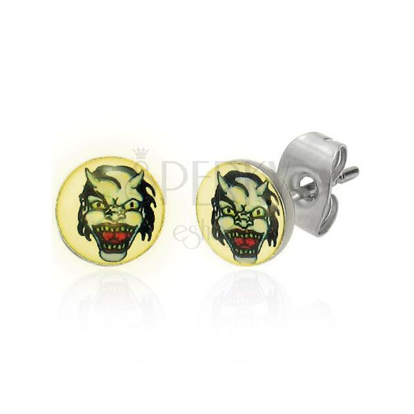 Ocelové náušnice - tvář ďábla s rohy, světlý podklad, čirá glazura, puzetky