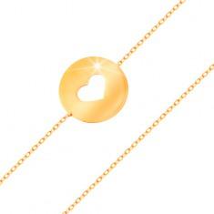 Zlatý 14K náramek - kruh se srdíčkovitým výřezem a plochým lesklým povrchem