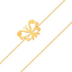 Náramek ve žlutém 14K zlatě - jemný řetízek, plochý motýlek s vyřezávanými křídly