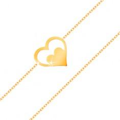 Náramek ze žlutého 14K zlata - kontura srdce se srdíčkem, tenký řetízek