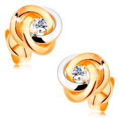 Zlaté 14K náušnice - dvoubarevný uzel ze tří kroužků, kulatý čirý zirkon uprostřed GG163.08 Šperky eshop