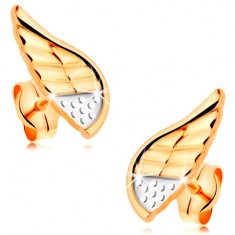 Náušnice v kombinovaném 14K zlatě - blýskavé andělské křídlo s tečkami a zářezy