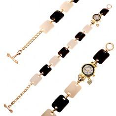 Černobílé náramkové hodinky, vypouklé obdélníky, ciferník s čirými zirkony