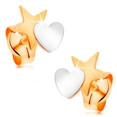 Dvoubarevné náušnice ze 14K zlata - hvězda spojená se srdíčkem, puzetky GG161.18