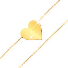 Náramek ve žlutém 14K zlatě - zrcadlově lesklé ploché srdce, blýskavý tenký řetízek