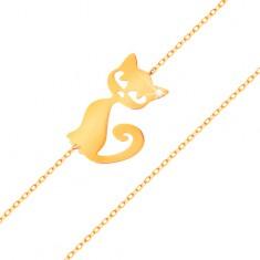 Zlatý náramek 585 - jemný blýskavý řetízek, plochý přívěsek - kočička